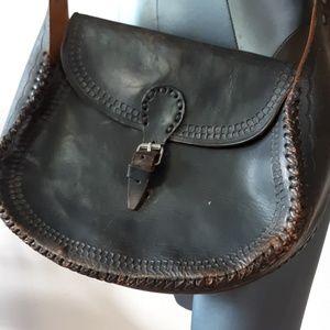 MOTO bucket vintage brown leather crossbody